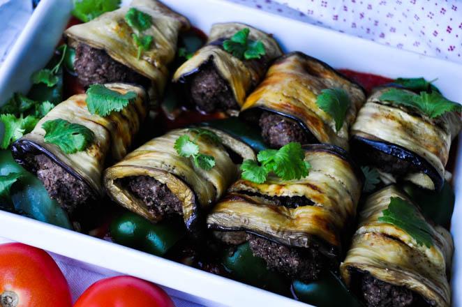 Aubergineruller med krydrede vegetariske kjøttboller-1